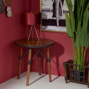 Столик круглый Лофт 61х61х61 см., дерево+металл